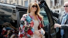U.S. First Lady Melania Trump wore a $51,000 Dolce & Gabbana jacket she arrived at Chierici Palace, part of a visit of the G7 first ladies in Catania, Italy, Friday, May 26, 2017. (AP Photo/Domenico Stinellis)