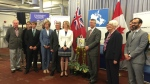 Dignitaries pose for a picture after a $10.7-million funding announcement at the University of Guelph. (University of Guelph)