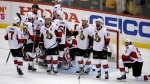 Ottawa Senators players gather after Game 7 of the Eastern Conference final against the Pittsburgh Penguins in the NHL Stanley Cup hockey playoffs in Pittsburgh, Thursday, May 25, 2017. Penguins won 3-2 in overtime. (AP Photo/Gene J. Puskar)