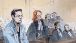 Artist's sketch of Karim Baratov, left, at a  bail hearing in Hamilton, Ont., on April 11, 2017. (Alexandra Newbould / THE CANADIAN PRESS)