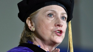 Former U.S. Secretary of State Hillary Clinton delivers the commencement address at Wellesley College in Wellesley, Mass., Friday, May 26, 2017. (AP / Josh Reynolds)
