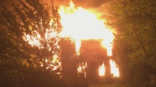 Four people charged with arson after a farmhouse fire in Lakeshore, Ont. (Courtesy OPP)