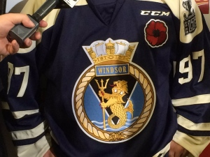 The commemorative jerseys the Windsor Spitfires wore to open the Memorial Cup in Windsor, Ont., on May 19, 2017. (CTV Windsor)