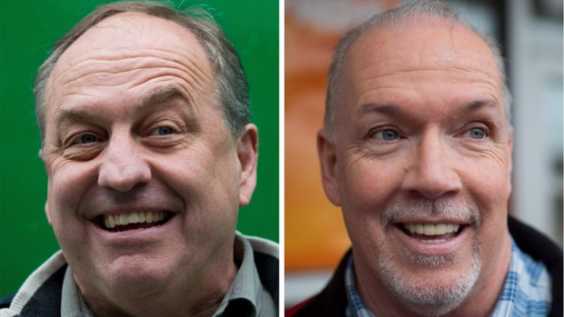 British Columbia Green Party Leader Andrew Weaver (left) and NDP Leader John Horgan (right) are seen in a combination photo from events leading up to the May 2017 provincial election. (THE CANADIAN PRESS/Darryl Dyck)