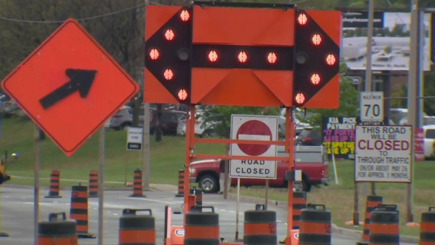 Construction signs block roads near Ottawa Street and Homer Watson Boulevard in Kitchener on Friday, May 26, 2017.