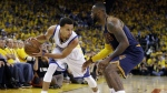 In this June 14, 2015, file photo, Golden State Warriors guard Stephen Curry, left, is guarded by Cleveland Cavaliers forward LeBron James during the second half of Game 5 of basketball's NBA Finals in Oakland, Calif. (AP / Ben Margot, File)