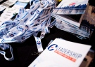 Lanyards and booklets are shown during the opening night of the federal conservative leadership convention in Toronto on Friday, May 26, 2017. (Nathan Denette / THE CANADIAN PRESS)
