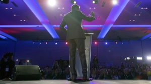Maxime Bernier speaks during the opening night of the federal conservative leadership convention in Toronto on Friday, May 26, 2017. A final winner will be picked to lead the Conservative Party of Canada on Saturday night. (Fred Thornhill/The Canadian Press)