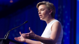 Candidate Kellie Leitch speaks during the opening night of the federal conservative leadership convention in Toronto on Friday, May 26, 2017. (Fred Thornhill/The Canadian Press)