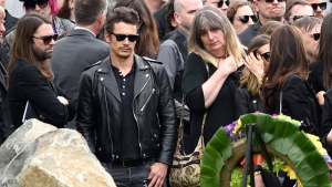 James Franco, second left, attends a funeral for Chris Cornell at the Hollywood Forever Cemetery on Friday, May 26, 2017, in Los Angeles. (Chris Pizzello/Invision)