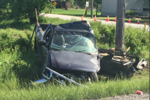 Crash on County Rd. 10 near Amherstburg Ont. (Sacha Long/CTV)