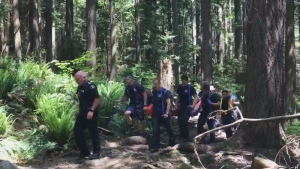 A 12-year old boy who slipped and fell and suffered a head injury while hiking near Quarry Rock trail is carried out by District of North Vancouver firefighters on May 27, 2017. (Breanna Karstens-Smith / CTV)