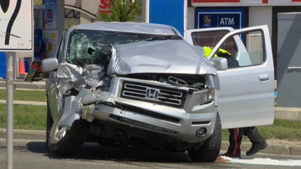 Damaged Honda Ridgeline following Saturday afternoon's crash at the intersection of 52 Street and Madigan Drive N.E.