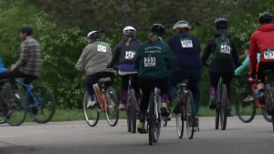 Dozens of cyclists gathered to honour Ellen Watters on Saturday, May 27, 2017.