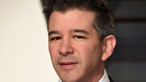 FILE - In this Sunday, Feb. 26, 2017, file photo, Uber CEO Travis Kalanick arrives at the Vanity Fair Oscar Party in Beverly Hills, Calif. (Photo by Evan Agostini/Invision/AP)