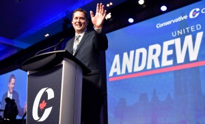 Andrew Scheer speaks after being elected the new leader of the federal Conservative party at the federal Conservative leadership convention in Toronto on Saturday, May 27, 2017. (Frank Gunn / THE CANADIAN PRESS)