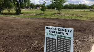 The development dispute is in Whistler Hollow, located in West St. Paul not far from the Perimeter Highway. (Source: Beth Macdonell/CTV Winnipeg)