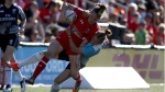 Team Canada's Julia Greenshields makes the try as she's taken down by Team Russia's Arina Bystrova at the HSBC Canada Women's Sevens at Westhills Stadium in Langford, B.C., on Saturday, May 27, 2017. (THE CANADIAN PRESS/Chad Hipolito)