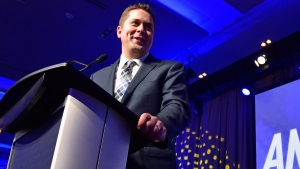 Andrew Scheer speaks after being elected the new leader of the federal Conservative party at the federal Conservative leadership convention in Toronto on Saturday, May 27, 2017. THE CANADIAN PRESS/Frank Gunn