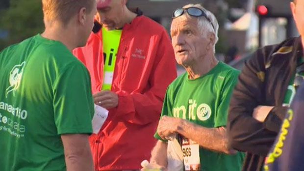 Gerry Miller, 80, ran the marathon course while tethered to teammates