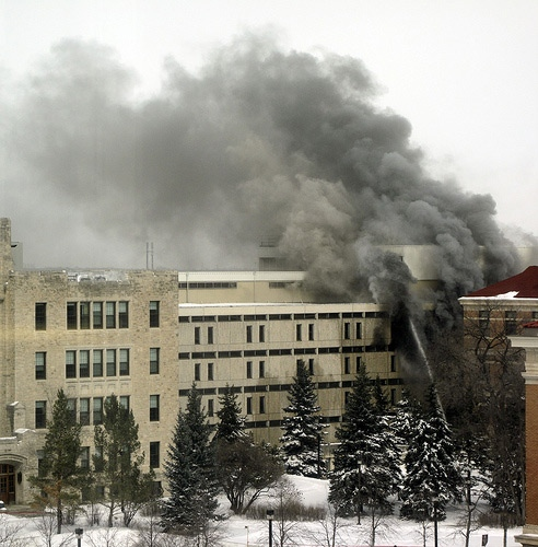 University of Manitoba student Jason Empey sent these pictures of the fire to CTV News before leaving the campus Saturday, March 28.