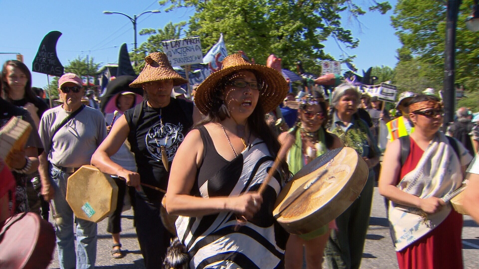 Audrey Seigl, centre, was one of the organizers of a four day long march from Victoria, B.C. to Burnaby, B.C. in opposition to the Kinder Morgan pipeline expansion. (CTV)