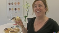 """The bakery's owner, Nathalie Shtern, describes the ingredients in the """"Movie Time"""" DoughNat."""