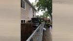 A vehicle crashed into a house on Redwood Avenue. The collision happened around 4:45 p.m. Sunday. (Source: Daniel Juenke)