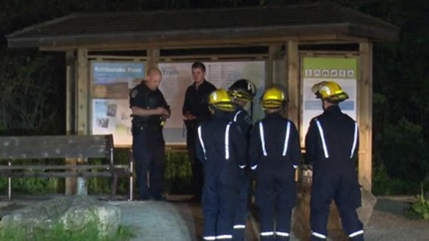 Firefighters and police are seen at Rattlesnake Point in Milton on May 28, 2017. (CP24)