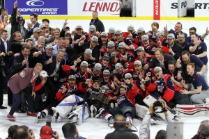 The Windsor Spitfires celebrate winning the 2017 Mastercard Memorial Cup in Windsor, Ont., on Sunday, May 28, 2017. (Melanie Borrelli / CTV Windsor)