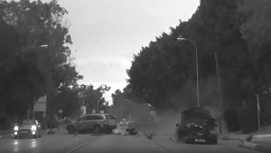 The multiple car crash in Marbella, Spain is seen in this image from video. (source: Storyful / YouTube / Lions Ground)