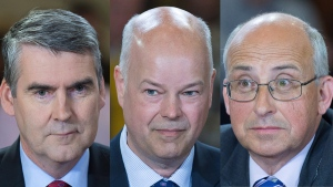 Left to right: Liberal leader Stephen McNeil, Progressive Conservative leader Jamie Baillie and NDP leader Gary Burrill. (Andrew Vaughan / THE CANADIAN PRESS)