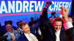 Andrew Scheer, right, is congratulated by Maxime Bernier at the federal Conservative leadership convention in Toronto on May 27, 2017. (Frank Gunn / THE CANADIAN PRESS)