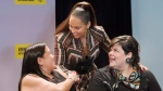 Alicia Keys, centre, greets Indigenous rights activists Melanie Morrison, left, and Melissa Mollen Dupuis prior to receiving an Ambassador of Conscience Award from Amnesty International recognizing those who have shown exceptional leadership in the fight for human rights in Montreal, Saturday, May 27, 2017. THE CANADIAN PRESS/Graham Hughes