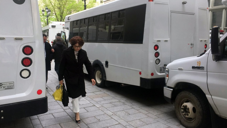 Ministers arriving at National Assembly must pass through corridor of Sureté du Quebec vehicles (May 29, 2017. CTV Montreal/Maya Johnson)