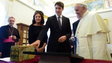 Presenting a gift to the Pope