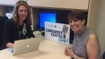 Windsor woman Michelle Prince, right, will answer viewer questions about chemotherapy during a Facebook Live session of her chemo treatment. (Windsor Regional Hospital/ Facebook)
