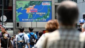 A screen in Osaka, Japan, reports North Korea's missile launch on May 29, 2017. (Meika Fujio / Kyodo News via AP)