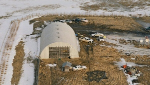 An aerial view of the scene where four RCMP officers were killed by James Roszko is shown in this evidence photo released at the Mayerthorpe inquiry Thursday, January 13, 2011. THE CANADIAN PRESS/RCMP-HO