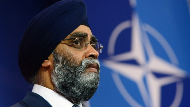 Minister of National Defence Minister Harjit Singh Sajjan at NATO headquarters in Brussels, Belgium on May 25, 2017. (Sean Kilpatrick / THE CANADIAN PRESS)