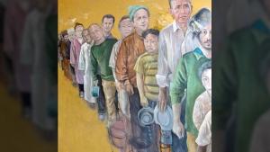 Abdalla Al Omari's painting 'The Queue' depcts various world leaders as desperate migrants. (Instagram / Abdalla Al Omari)