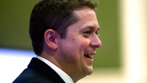 Newly elected Conservative Party Leader Andrew Scheer addresses Conservative caucus in Ottawa, Monday, May 29, 2017. (THE CANADIAN PRESS/Fred Chartrand)