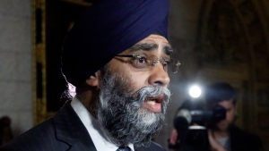 Defence Minister Harjit Sajjan talks to reporters on Parliament Hill in Ottawa, Monday, May 29, 2017. THE CANADIAN PRESS/Fred Chartrand