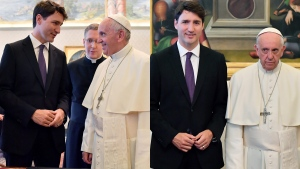 Prime Minister Justin Trudeau meets with Pope Francis at the Vatican in this composite photo from Monday, May 29, 2017. (AP / Ettore Ferrari)