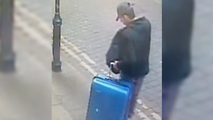 This is a handout photo taken on Monday, May 22, 2017 from CCTV and issued on Monday, May 29, 2017 by Greater Manchester Police of Salman Abedi in an unknown location of the city centre in Manchester, England. (Greater Manchester Police via AP)
