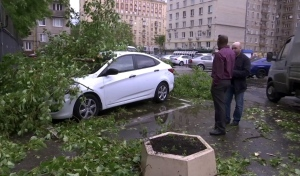In this grab taken from video, men stand near to a vehicle crushed by branches from a fallen tree, in a residential area of Moscow, Russia, Monday, May 29, 2017. (AP)