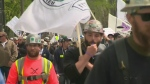 Thousands of construction workers protested in Quebec City on May 29, 2017, as special legislation was tabled in the National Assembly.