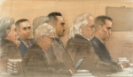 Three Toronto cops Joshua Cabero, 28, Leslie Nyznik, 38, and Sameer Kara, 31, appeared in a Toronto courtroom for pre-trial motions on Monday. (John Mantha)