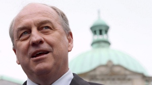 B.C. Green party leader Andrew Weaver speaks to media in the rose garden on the Legislature grounds in Victoria, B.C., on May 10, 2017.  (Chad Hipolito / THE CANADIAN PRESS)