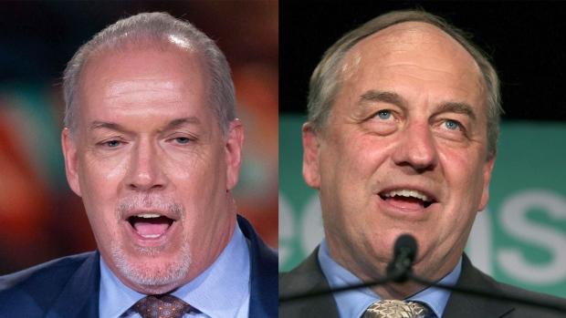 B.C. NDP Leader John Horgan and B.C. Green Party Leader Andrew Weaver are seen in this composite image. (The Canadian Press)